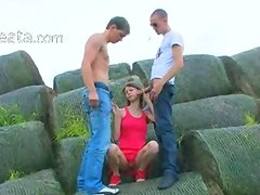 Amazing double fucking outside with teen