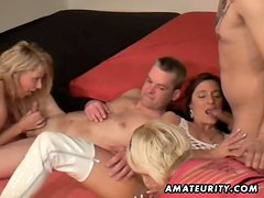 3 amateur Milf share 2 cocks! Homemade groupsex action