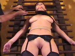 Blindfolded girl is excited by bondage