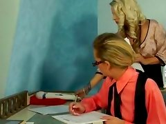 Hot office euro lesbos toy play