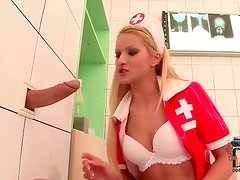 Nurse sucks dick through a gloryhole