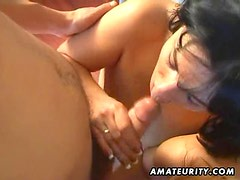 Amateur anal threesome with facial cumshot