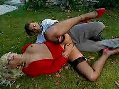 Sex in the grass with well dressed Euro slut