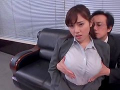 Busty cutie Azumi Nocturne gets fucked by two dudes in an office