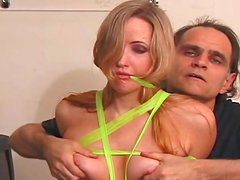 Sexy cute blonde with pins over her cute pussy