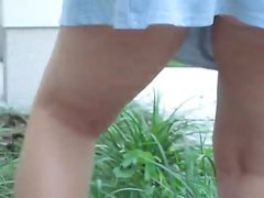 Voyeur 11 upskirt in the garden, Caught accidently (MrNo)