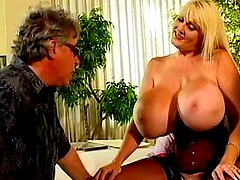 Hot blonde with gigantic boobs fucking hard