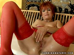 Redhead Granny in Lingerie Getting Her Clit Stimulated by Sex Toy