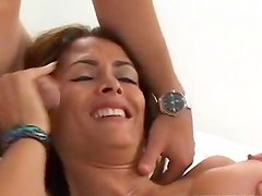 Thight pussy Monica screws two young men