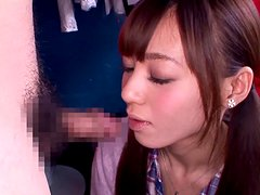 Naughty Japanese girl Aino Kishi feels happy to suck a hard cock