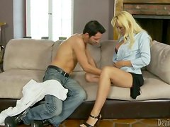 Alana Evans the blonde teacher gets her pussy licked and drilled