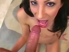 Brunette Logan Anderson is making amazing blowjob