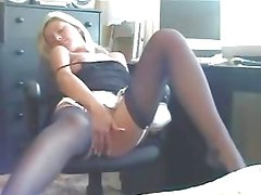 Secretary masturbating at her desk