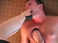 Hot beauty staying on the face of her sexy slave