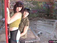 Cute hairy lesbian fucked with a strapon