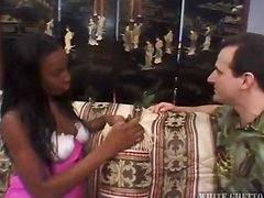 Booty ebony babe rides a huge white cock