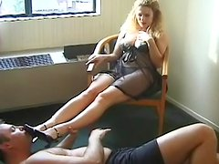 Hot busty blonde staying on the face of her slave