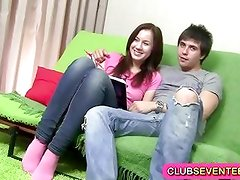 Delightful little brunette fucked at home