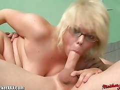 Chubby Blonde MILF With Big Tits gets Facialed