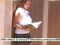 Mandy lovely redhead slut goes with a book in hand