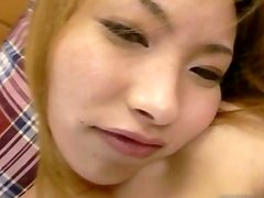 Japanese schoolgirl gets her tight pussy