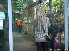 Beautiful blondie is having a tour in the Tropicarium