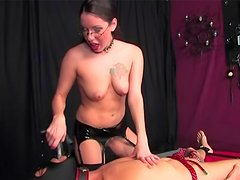 Babe in glasses getting nice rubber cock