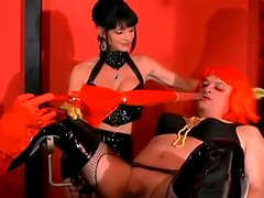 Hot lady in latex humiliating that fat old fart