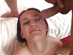 Claudia Adams gets her face drizzled with warm cum