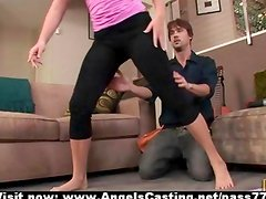 Blonde milf does yoga and blowjob for neighbor guy in yoga poses