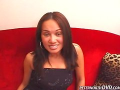 Nina Lynn the horny brunette babe sucks a cock and poses on camera