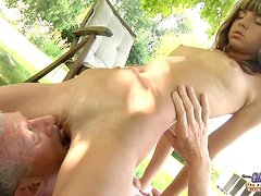 Young nasty blonde seduce an Oldguy