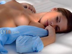 Blue busty babe trying blue vibrator