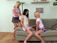 Three slender teens are sharing each other's pussies