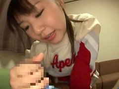 Japanese chick gives a blowjob and a handjob combo
