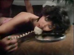 Chick on phone fucked in vintage video