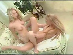 Shaved pussies tribbing in lesbian video