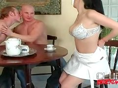 Bisexual threesome starts with sucking action