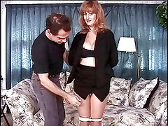 Mature big tits brunette has her pussy teased by her master