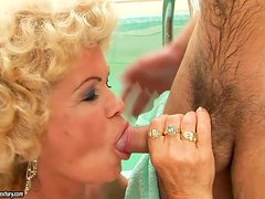 Randy Blond Granny Has a New Playing Thing in Form of a Dick