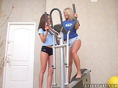 Hot workout with two sexy lesbian teens Aliza and Lilja