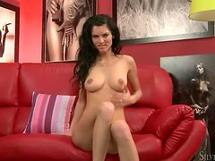 Alina the bewitching brunette girl shows her nude body at the casting
