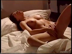 Skinny small breasted girl with toys and fingers