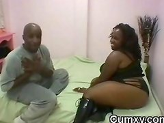 BBW Chubby Big Breasts Ebony Sucking BBC And Licking Balls