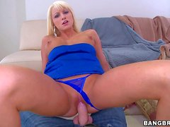 Blond haired girl Rikki Six in tiny black panties gets
