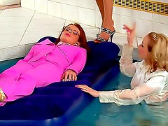 Skirt and blouse girls take a bath