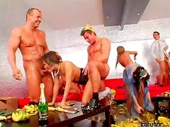 Food and fucking at messy party