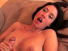 Arousing brunette Kimberly Kole is deep blowing this guys huge cock in amazing hardcore