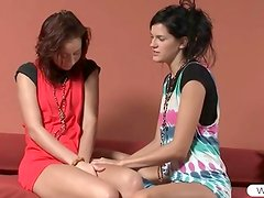 Lesbos Natasha and Mia sharing a double dildo