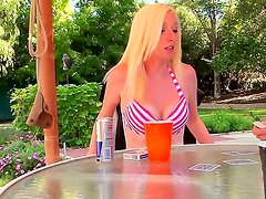 Naughty Esperenza Diaz and Tegan Riley are playing strip poker by the pool side